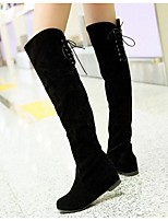 Women's Boots Spring Fall Winter Synthetic Outdoor Flat Heel Lace-up Black Brown Others