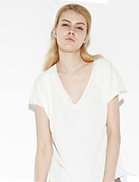 C+IMPRESS Women's Going out Simple Summer T-shirtSolid V Neck Short Sleeve White Polyester / Spandex Thin