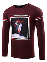 Men's Print / Solid Casual / Work / Formal / Sport / Plus Size T-ShirtCotton / Spandex Long Sleeve-Black / Red / White