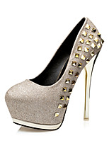 Women's Heels  Comfort / Round Toe / Closed Toe  Casual Stiletto Heel Rivet Black / Pink / Silver / Gold