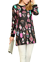 Women's Plus Size / Casual/Daily Vintage Loose DressPrint Round Neck Above Knee Long Sleeve Black Polyester