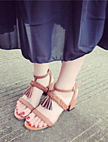 Women's Sandals Summer Slingback Leatherette Casual Chunky Heel Tassel Black / Brown Others