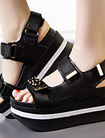 Women's Sandals Spring / Summer / Fall Scuff Leather Casual Wedge Heel Crystal Black Others