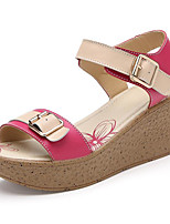 Women's Sandals Summer Sandals Leather Outdoor Wedge Heel Buckle Black / Blue / Fuchsia / Orange / Coral Others