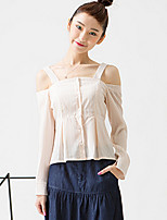 ROOM404  Women's Casual/Daily Simple Spring BlouseSolid Off Shoulder Long Sleeve Pink Polyester Opaque
