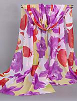 Women's Chiffon Flowers Print Scarf Purple/Blue/Pink/Red