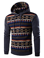Men's Print / Color Block Casual / Sport HoodieCotton Long Sleeve Black / Blue / Gray