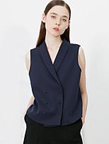 c + Frauenarbeit einfache Sommer beeindrucken blazersolid Schal Revers sleeveless blauen Polyester undurchsichtigen