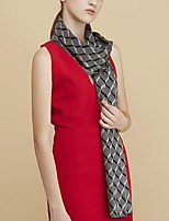 Women Acrylic ScarfCasual RectangleBlack / BrownColor Block