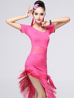 Latin Dance Dresses Women's Performance Chinlon / Milk Fiber Rhinestone / Tassel 1 Piece Dance Costumes