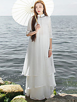 Ramie Cotton Women's Casual/Daily Chinoiserie Shift DressFloral Stand Knee-length  Sleeve White Linen