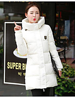 CoatSimple Casual/Daily Solid-Polyester White Duck Down Long Sleeve Shirt CollarBlue / Pink / Red / White / Black /
