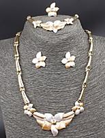 Big Flower Pendant Wedding Sets 18K Gold Plated Austrian Crystal Necklace Bracelet Ring Earrings Jewelry Set for Women