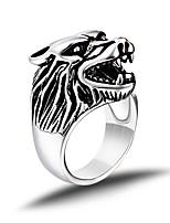 Vintage Ring Men Titanium Steel Punk Silver Wolf Head Ring Men Jewelry bague homme