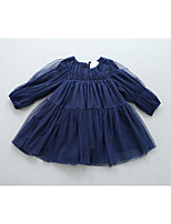 Girl's Casual/Daily Solid BlouseCotton / Rayon Spring / Fall Blue / Red
