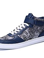 Herren-Sneaker-Lässig-PU-Flacher Absatz-Komfort-Schwarz Silber Grau Gold