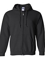 Men's Solid Casual / Sport HoodieCotton / Polyester Long Sleeve Black / Blue / Purple / Red / White / Gray k259