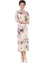 One-Piece 3/4-Length Sleeve Long Length Pink Lolita Dress Polyester Cheongsam