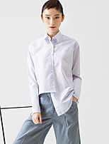 ROOM404  Women's Going out Simple Spring ShirtSolid Shirt Collar Long Sleeve White Cotton Opaque