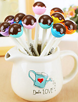 12 PCS Chocolate Lollipop Black Ink Gel Pen