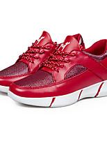 Women's Sneakers Spring / Fall Comfort PU Casual Flat Heel  Black / Red / White Sneaker