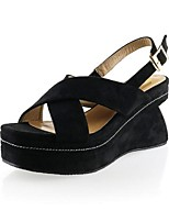 Women's Sandals Summer Sandals Leatherette Outdoor Wedge Heel Buckle Black / Gray / Almond Others