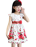 Girl's Going out Floral Dress,Cotton Summer Red