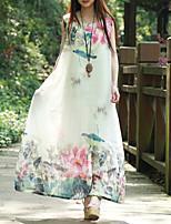 Женский На каждый день Винтаж Свободный силуэт Платье Цветочный принт,Круглый вырез Макси Без рукавов Белый Полиэстер ЛетоСо стандартной