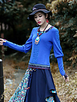 Our Story Going out Vintage Spring / Fall T-shirtPaisley Round Neck Long Sleeve Blue Acrylic / Spandex Medium