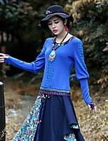 De las mujeres Vintage Noche Primavera / Otoño Camiseta,Escote Redondo Cachemir Manga Larga Acrílico / Licra Azul Medio