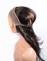 360 Лобовой Естественные кудри Человеческие волосы закрытие Умеренно-коричневый / Темно-коричневый Швейцарское кружево 95-100g грамм