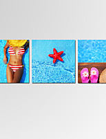 Mini Size VISUAL STAR Seascape Wall Art for Home Decor 3 Panels Sexy Girl Giclee Print on Canvas Ready to Hang