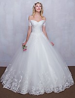 Ball Gown Wedding Dress Floor-length Off-the-shoulder Tulle with Lace