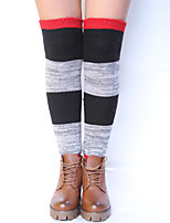 Women's Winter Knitting Warm Wool Multicolor Splicing Leg Warmers