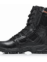Men's Boots Spring / Fall Closed Toe Cowhide Outdoor Flat Heel Zipper / Lace-up Black / Khaki Hiking