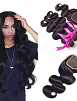 Brazilian Body Wave Virgin Hair Bundles with Lace Closure Wet and Wavy Brazilian Lace Closure With Bundles