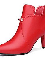 Women's Boots Spring /Fall / Winter Fashion Boots Synthetic Office & Career / Casual Stiletto Heel Black /Red Snow Boots