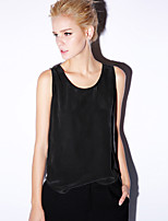 Newbefore Women's Casual/Daily Simple Summer Tank TopSolid Round Neck Sleeveless