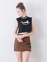 linjou linjou femmes de sortir sans manches col rond moyen polyester noir été t-shirtprint simples