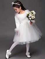 Ball Gown Knee-length Flower Girl Dress - Satin Long Sleeve Jewel with Flower(s)