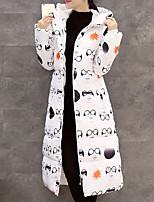 Пальто Простое / Уличный стиль Длинная Пуховик Женский,С принтом На каждый день / Офис / Большие размеры Полиэстер Пух белой утки,Длинный
