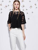 J&D  Women's Going out Cute Summer T-shirtSolid Round Neck Length Sleeve Black Polyester Medium