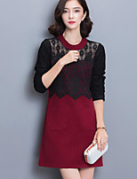 Women's Plus Size Sexy DressColor Block Above Knee Long Sleeve Red Others Winter Mid Rise Micro-elastic Woollen Fabrics
