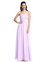 2017 TS Couture® Formal Evening Dress Sheath / Column One Shoulder Floor-length Chiffon with Beading / Side Draping