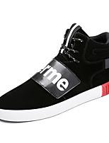 Черный Серый-Для мужчин-Для прогулок Повседневный Для занятий спортом-Замша-На плоской подошве-Удобная обувь-Кеды