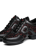 Women's Dance Shoes Sneakers Breathable Leather Low Heel Black/Black and Red