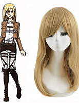 Attack on Titan Christa Renz Straight Strawberry Blonde Cosplay Wig Get Wigs Cap Free Top Quality Party Queen Beauty Wig