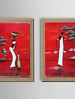 Handgemalte Abstrakt / Menschen / Fantasie Ölgemälde,Modern / Traditionell / Europäischer Stil Zwei Panele Leinwand Hang-Ölgemälde For
