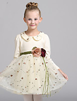 Girl's Casual/Daily Floral DressCotton / Polyester Winter / Fall Pink / Beige