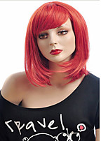 Red Color Straight European Synthetic Wigs Capless For Afro Women